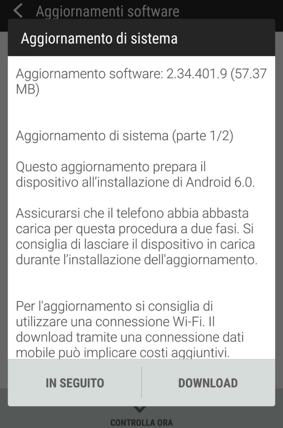 Aggiornamento ad Android 6 per HTC One E8